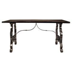 Italian 18th Century Ebonized Fruitwood Trestle Table
