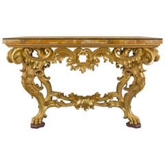 Italian 18th Century Finely Carved Giltwood and Marble Roman Console