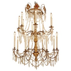 Italian 18th Century Giltwood and Crystal Genovese Chandelier