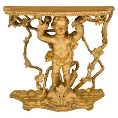 Italian 18th Century Giltwood and Faux Painted Marble Freestanding Console