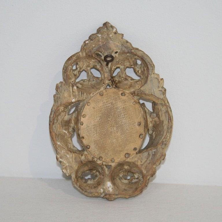Wood Italian 18th Century Giltwood Baroque Miniature Mirror For Sale