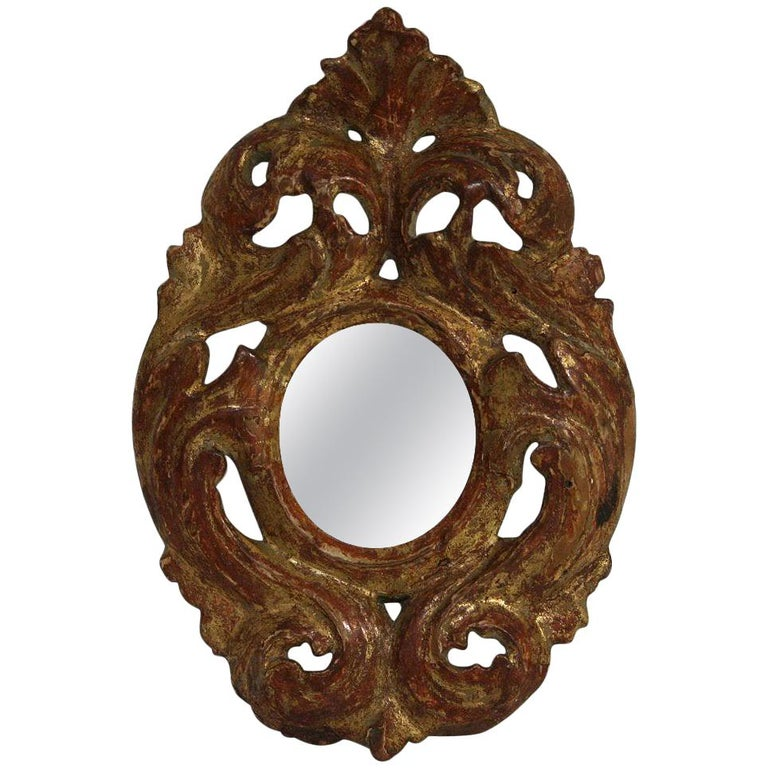 Italian 18th Century Giltwood Baroque Miniature Mirror For Sale