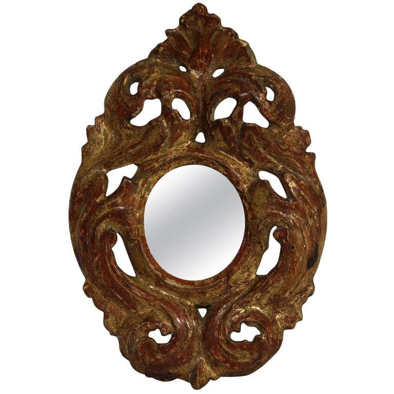 Italian 18th Century Giltwood Baroque Miniature Mirror For Sale