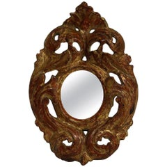 Italian 18th Century Giltwood Baroque Miniature Mirror
