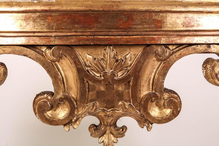 Italian 18th Century Giltwood Console Table For Sale 1
