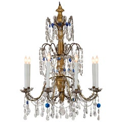 Italian 18th Century Giltwood, Gilt Metal and Glass Eight-Light Chandelier