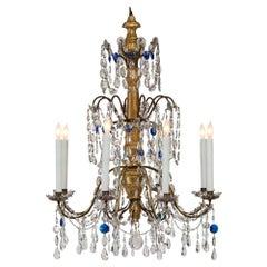 Italian 18th Century Giltwood, Gilt Metal and Glass Eight-Light Chandelier