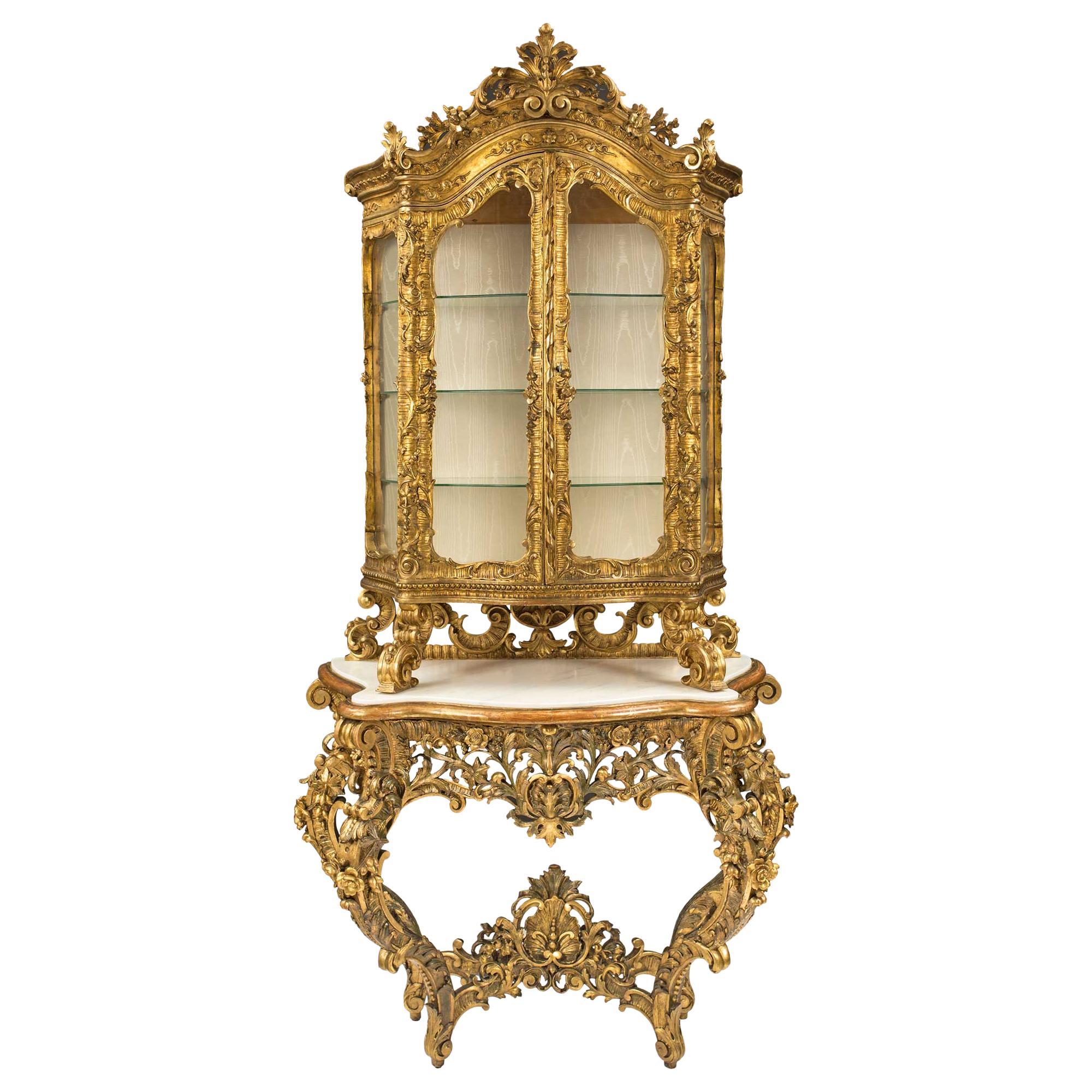 Italian 18th Century Giltwood, Polychrome and Marble Baroque Console Vitrine