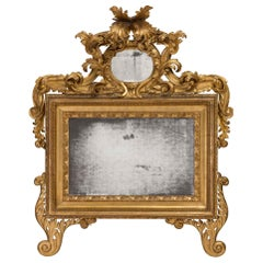 Italian 18th Century Giltwood Roman Mirror
