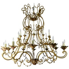 Italian 18th Century Gold Gilt Elements, Glass Bead and Iron Chandelier
