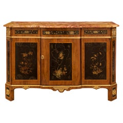Italian 18th Century Japanese Lacquer and Lace Wood Veneer Cabinet