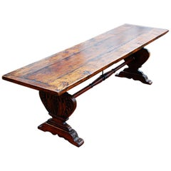 Italian 18th Century Long Walnut Table with Vase Carved Pedestal Ends