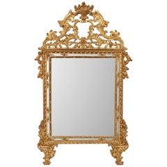 Italian 18th Century Louis XIV Period Double Framed Giltwood Mirror
