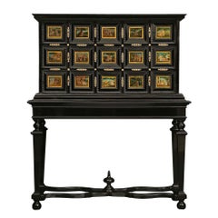 Italian 18th Century Louis XIV Period Ebony and Reverse Painted Glass Cabinet