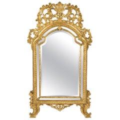 Italian 18th Century Louis XIV Period Giltwood Double Framed Mirror