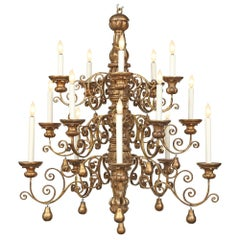 Italian 18th Century Louis XIV Period Mecca and Gilt Metal Chandelier