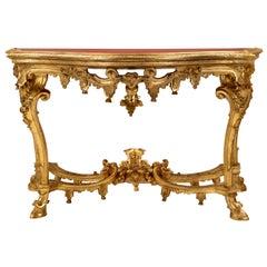 Italian 18th Century Louis XIV Period Venetian Giltwood Console