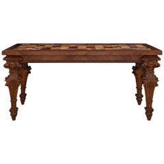 Italian 18th Century Louis XIV Style Walnut and Marble Specimen Center Table