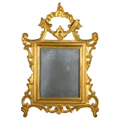 Italian 18th Century Louis XV Mirror Carved Gilt Wood Frame with Mercury Glass