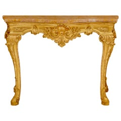 Italian 18th Century Louis XV Period Giltwood and Rose Phocéen Marble Console