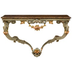 Italian 18th Century Louis XV Period Patinated Wood Wall Mounted Console