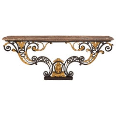 Italian 18th Century Louis XV St. Wrought Iron, Gilt Metal, and Marble Console