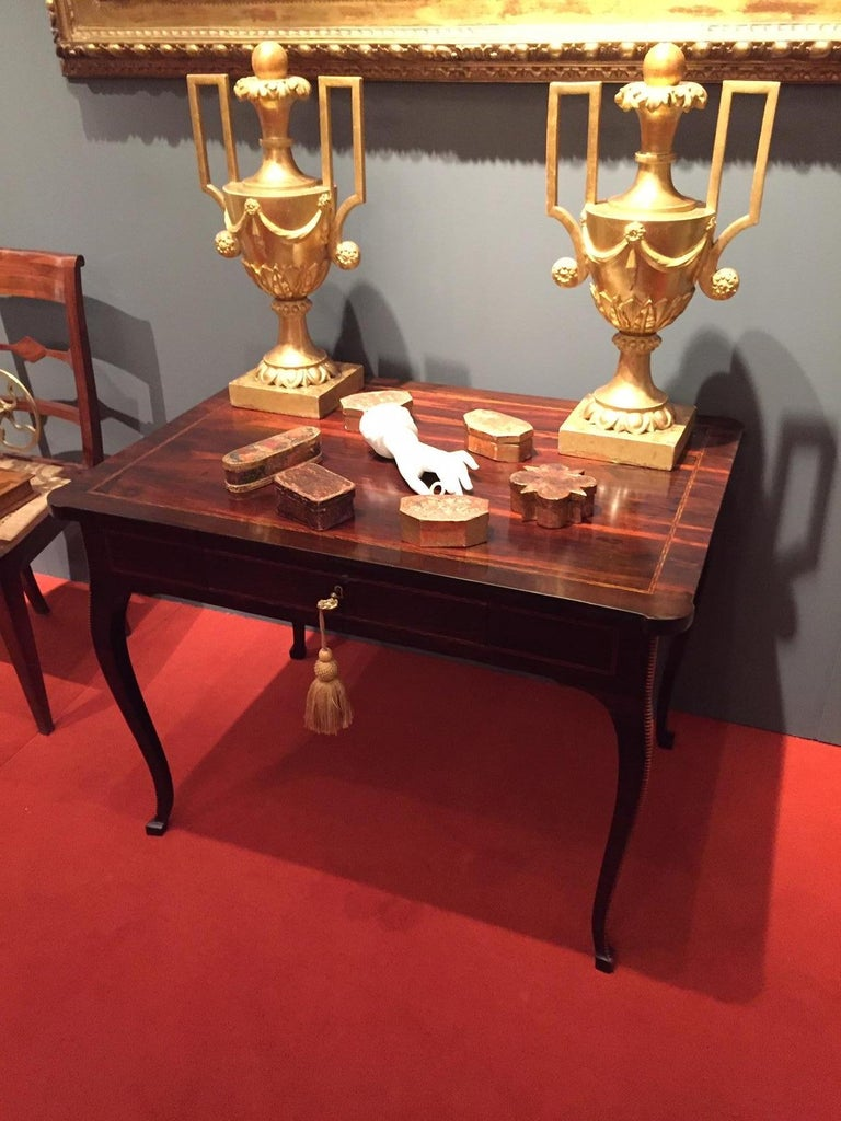 Inlay Italian 18th Century Louis XV Writing Table Inlaid Rosewood Center Desk For Sale