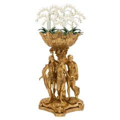 Italian 18th Century Louis XVI Period Giltwood Three Graces Planter