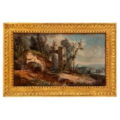 Italian 18th Century Louis XVI Period Gouache in Its Original Giltwood Frame