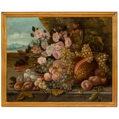 Italian 18th Century Louis XVI Period Oil on Canvas Still Life Painting