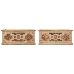Italian 18th Century Louis XVI Period Patinated and Faux Marble Storage Benches