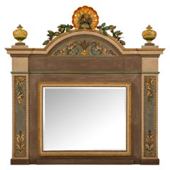 Italian 18th Century Louis XVI Period Patinated and Giltwood Mirror, from Milan