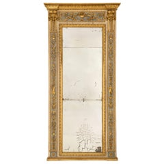 Italian 18th Century Louis XVI Period Patinated Wood and Giltwood Trumeau Mirror