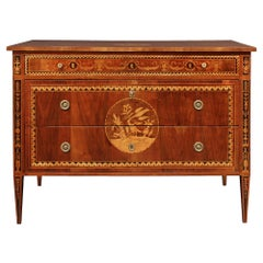 Italian 18th Century Louis XVI Period Walnut and Tulipwood Marquetry Commode
