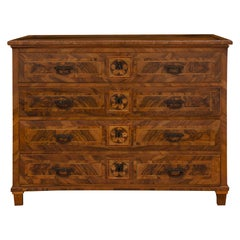 Italian 18th Century Louis XVI Period Walnut, Kingwood and Charmwood Commode