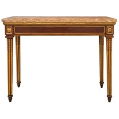 Italian 18th Century Louis XVI St. Walnut, Giltwood and Marble Center Table