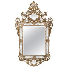 Italian 18th Century Mecca and Etched Glass Venetian Mirror