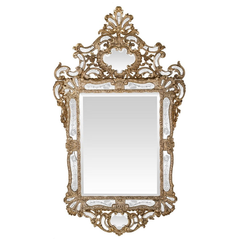 Italian 18th Century Mecca And Etched Glass Venetian Mirror For Sale At 1stdibs