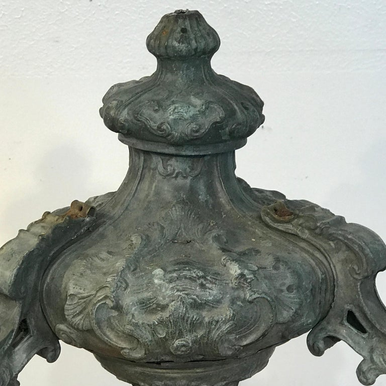 Baroque Italian 18th Century Mounted Fragment of a Copper Sanctuary Font For Sale