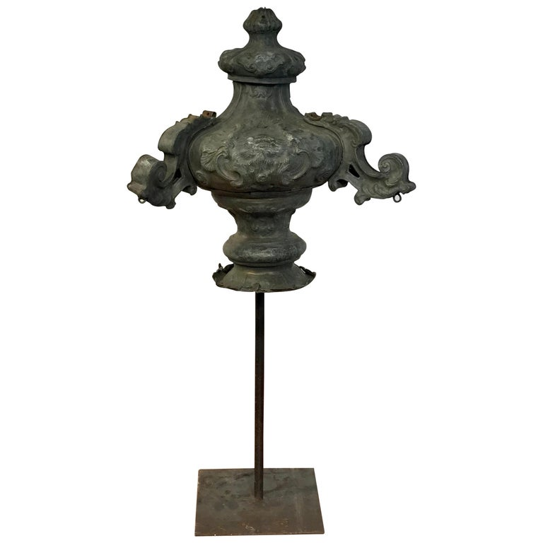 Italian 18th Century Mounted Fragment of a Copper Sanctuary Font For Sale
