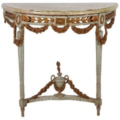 Italian 18th Century Neoclassical Marble Top Paint and Parcel Gilt Console Table