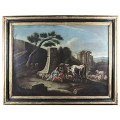 Italian 18th Century Neoclassical Painting Landscape with Ruins Figures Herds