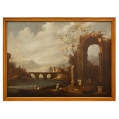 Italian 18th Century Oil on Canvas Painting in a Giltwood Frame