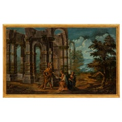 Italian 18th Century Oil on Canvas Painting of Ruins and Figures