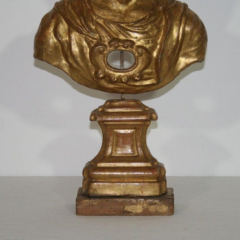 Italian 18th Century Papier Mâché Reliquary Bust For Sale 8