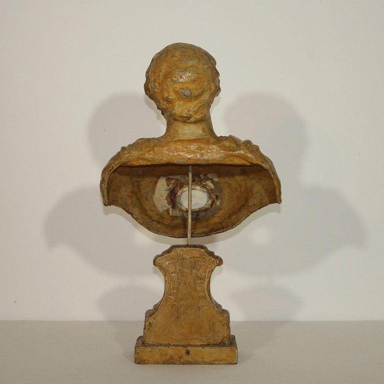 Italian 18th Century Papier Mâché Reliquary Bust For Sale 3