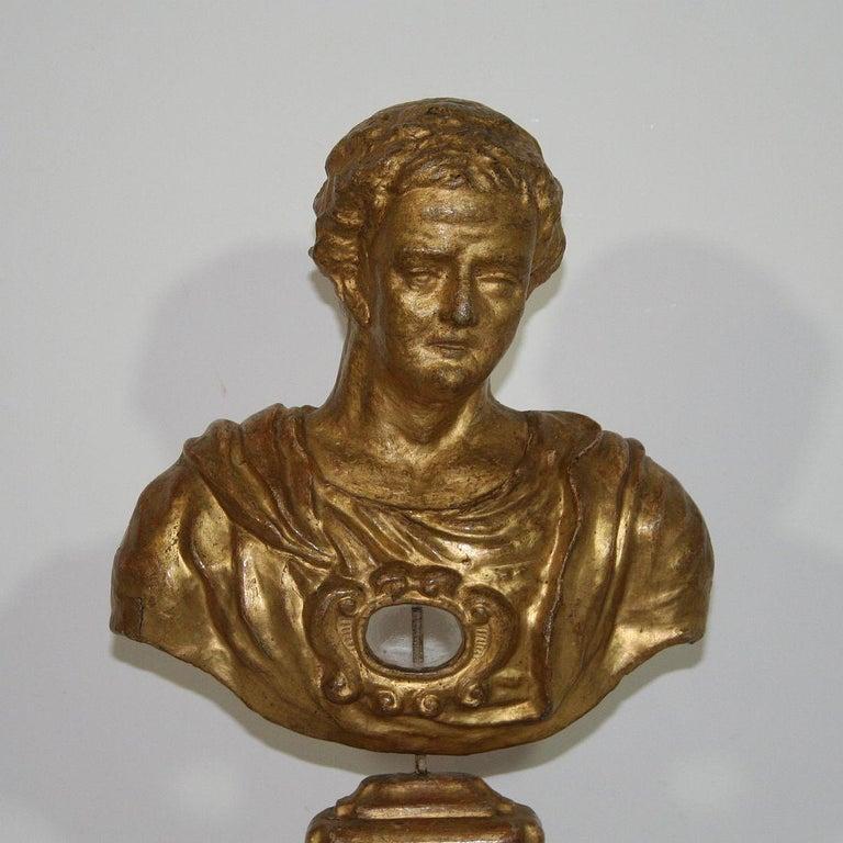 Italian 18th Century Papier Mâché Reliquary Bust For Sale 4