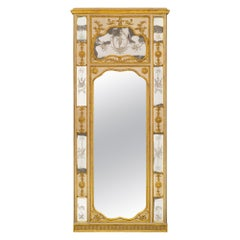 Italian 18th Century Patinated Wood, Giltwood And Etched Mirror Trumeau