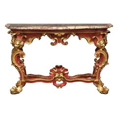 Italian 18th Century Red Polychrome and Giltwood Roman Console
