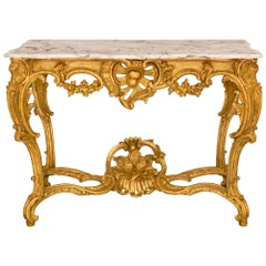 Italian 18th Century Regence Style Louis XV Period Giltwood and Marble Console